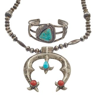 Navajo Coral, Turquoise, Sterling Necklace and Bracelet