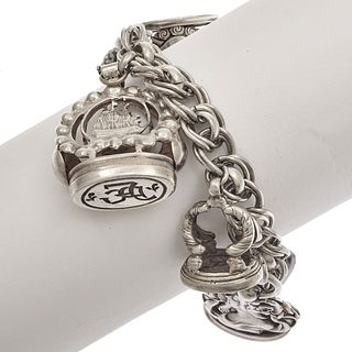 Sterling Silver Multi- Fob Charm Bracelet