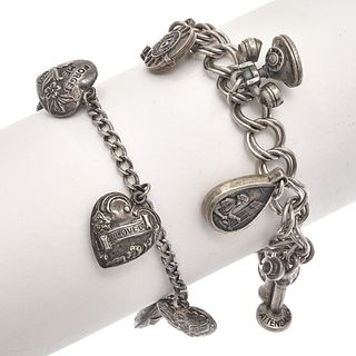 Collection of Two Sterling Silver Themed Charm Bracelets