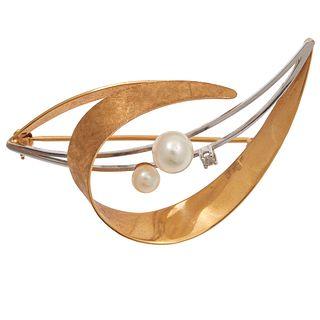 Diamond, Cultured Pearl, 18k Brooch