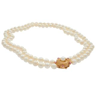 Double Strand Cultured Pearl, Ruby, 14k Necklace