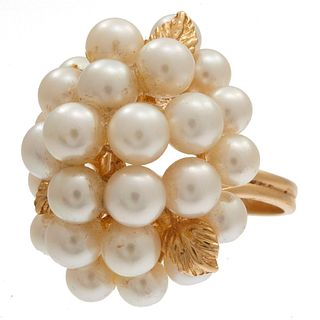 Pearl, 14k Yellow Gold Cluster Ring
