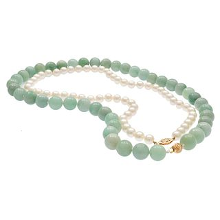 Jade Beads with Cultured Pearl, 14k Necklace