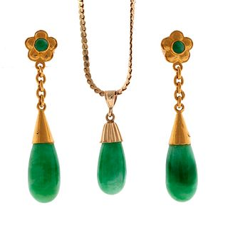 A jadeite, gold necklace and pair of earrings