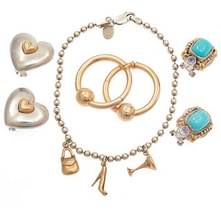 Collection of  Four 14k, Sterling Silver Jewelry Items