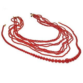 Collection of Two Red Coral Necklaces