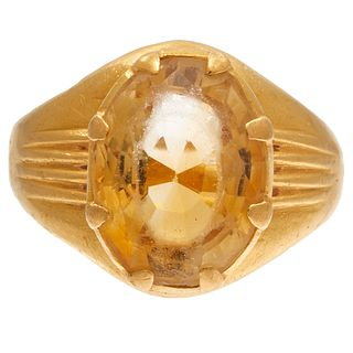 Citrine, 22k Yellow Gold Ring