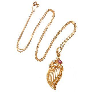 Ruby, Diamond, 18k, 14k Witch's Heart Necklace