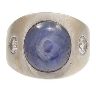 Star Sapphire, Diamond, 14k White Gold Ring
