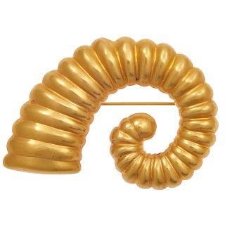 18k Yellow Gold Textured Brooch