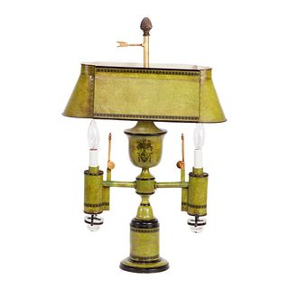 French Tole Decorated Argand Style Lamp