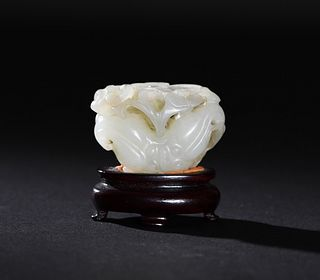 Chinese White Jade Carved Water Chestnut, 18th Century