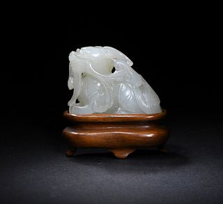 Chinese White Jade Carved Beast, 18th Century