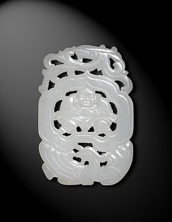 Chinese White Jade Cut-Out Plaque, 18th Century