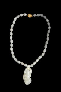 Chinese White Jade Necklace, 19th Century
