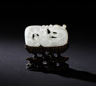 Chinese White Jade Dragon Plaque, 18-19th Century