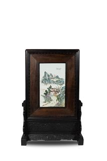 Chinese Porcelain Plaque Screen, Late 19th Century