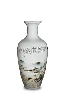 Chinese Famille Rose Landscape Vase by Wang Yeting