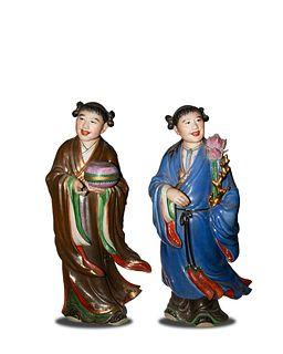 Pair of Porcelain Figures by Zeng Longsheng