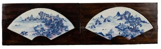 Pair of Chinese Blue, White and Red Enamel Fans