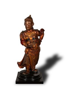 Chinese Gilt Lacquer Figure of Weituo, Ming