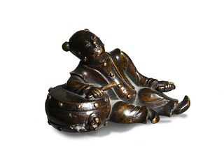 Chinese Bronze Boy Reclining with Drum, 18th Century