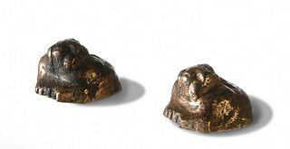 Pair of Gilt Bronze Tiger Paperweights,Western Han