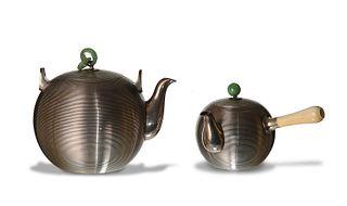 Two Japanese Silver Teapots, Meiji