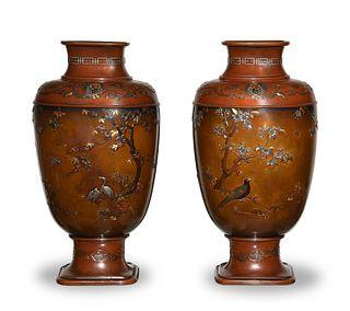 Pair of Japanese Bronze Vases, 19th Century