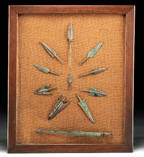 Framed Lot of 11 Luristan Bronze Weapons