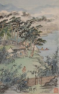 Chinese Painting of River Village by Wang Yachen