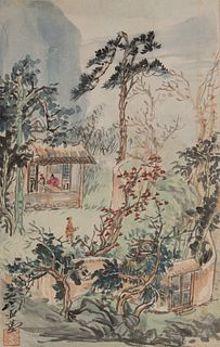 Chinese Painting of Forest Village by Wang Yachen