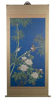 Chinese Blue-Ground Painting attributed to Zhou Yigui