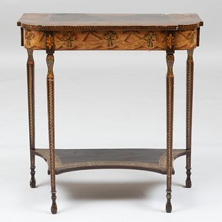 George III Brown and Polychrome Painted D Form Console Table