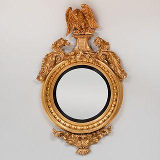 Fine Regency Giltwood Convex Mirror