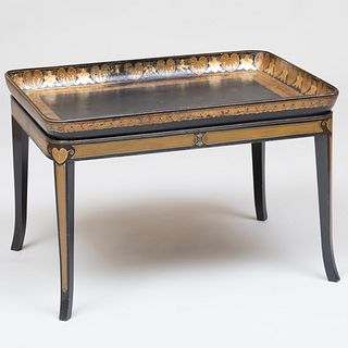 Regency Japanned Papier Maché Tray on Later Stand