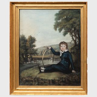 English School: Boy with a Hoop