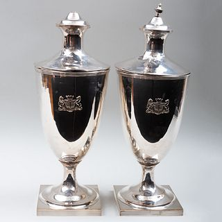 Pair of Large Silver Plate Urns and Covers