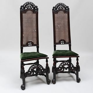 Pair of Charles II Walnut, Beechwood and Caned Tall Back Chairs