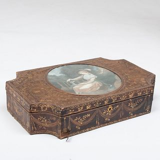 English Gilt-Tooled Leather Box with a Figural Colored Engraving