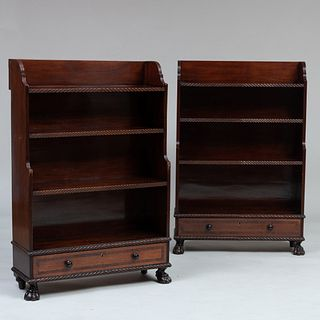 Pair of Early Victorian Rosewood-Banded Mahogany and Oak Bookcases