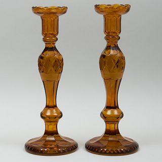 Pair of Regency Amber Cut Glass Candlesticks