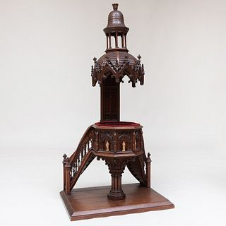 Continental Carved Oak Architectural Model of a Neo-Gothic Pulpit