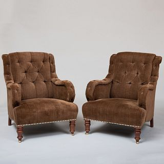 Pair of Victorian Style Mahogany and Tufted Velvet Upholstered Armchairs