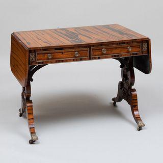 Regency  Brass-Mounted Inlaid Calamander Sofa Table