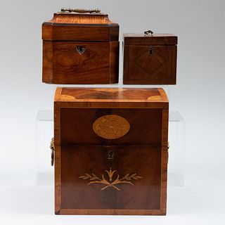 George III Mahogany and Ebonised Wood Tea Caddy with Two Canisters