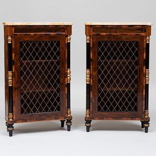 Pair of George IV Rosewood, Calamander and Parcel-Gilt Side Cabinets
