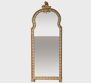 Fine George III Celadon Painted and Parcel-Gilt Mirror