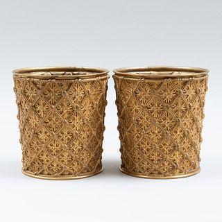 Pair of Elkington Gilt-Bronze Planters