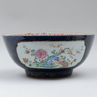 Chinese Famille Rose Blue Ground Porcelain Punch Bowl